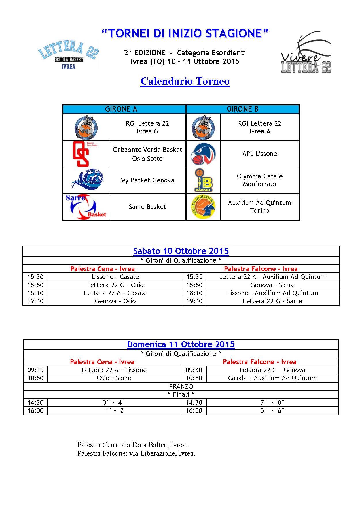 Calendario Torneo A 7 Squadre.Otto Squadre Per Il Torneo Esordienti Asd Lettera 22 Ivrea